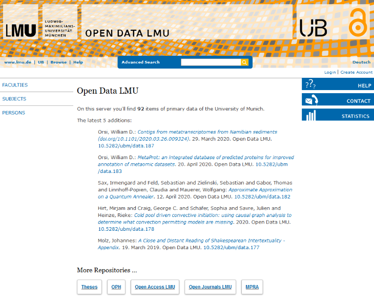 Bild 11: Offenes Datenrepositorium der UB der LMU