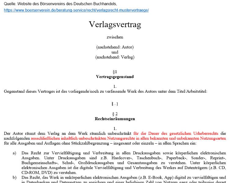 Bild 6: Auszug aus einem Verlagsvertrag